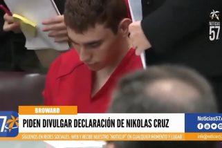 Piden divulgar declaración de Nikolas Cruz