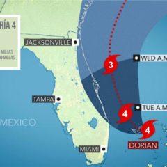 Huracán Dorian categoría 4, Palm Beach por fuera del cono