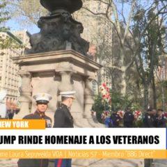 Presidente Donald Trump asistió al desfile de Veteranos en New York